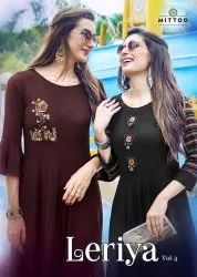 Party Wear Latest Designer Rayon Slub Kurti With Embroidery And Handwork
