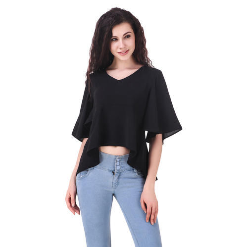 c7cef69aaab09e Fairiano Casual Half Sleeve Solid Women's Black Top at Rs 296 /piece ...