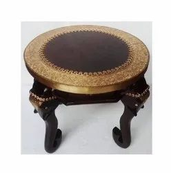 16 Brown Wooden Centre Table With Metal Fitted