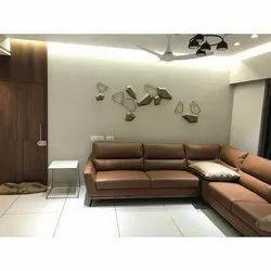 Brown Shree Hari Interior L Shape Leather Sofa Set, For Sitting