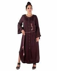 Rayon Party Wear Women Brown Round Neck Front Open Dress