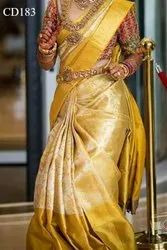 Silk Bridal Wear Exclusive Kanchipuram Pattern Gold Saree