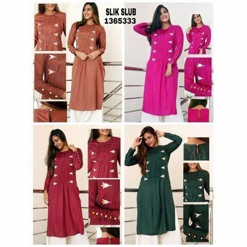 1754683536f Ladies 3 4th Sleeve Silk Slub Kurti