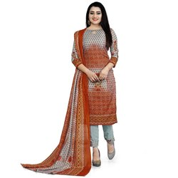 Rajnandini Grey & Red Cotton Printed Unstitched Dress Material