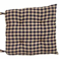 Yarn Dyed Khaki Navy Check Chair Pad