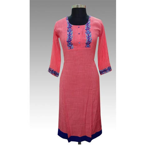 Cotton Pink Casual Kurti