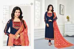 Navy Blue & Pink Georgette Embroidered Salwar Suit With Banarasi Dupatta