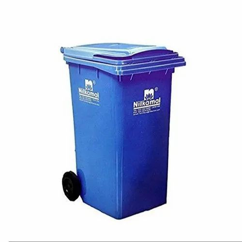 Open Top Blue 2 Wheeled Nilkamal Plastic Dustbin, for For Storing Garbage and Waste