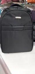 Plain Black Leather School Backpack