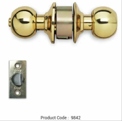 Bathroom Door Godrej Cylindrical Lock-Polished Brass | ID: 20950254448