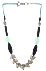 A/Silver Nugget With Black Matt Coral Color Faceted Cut Stone Necklace