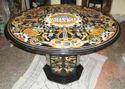 Pashan Kala Polish Marble Inlaid Table, For Home, Shape: Round