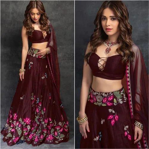 af96ffc4790 Wedding Bridal Wear Heavy Embroidered Worked Taffeta Silk Fabric Lehengha  Choli