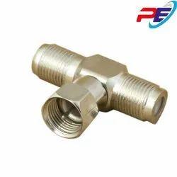 Brass F Type Three Way Adaptor