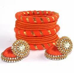 Traditional Orange Silk Thread Bangles With Jhumki