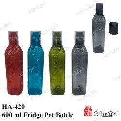 Red Square Shape Fridge Plastic PET Water Bottle, Capacity: 600 mL