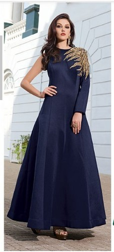 Party Wear Blue Gown and Orange Printed Gown Retailer
