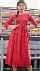 Ladies Festival Red Anarkali Kurtis