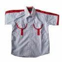 Cotton Striped Boys Half Sleeves School Shirt