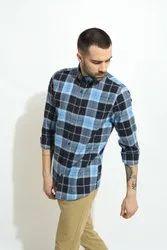 Green Hill Mens Blue Check Shirt