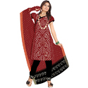 Bandhej Red Print Suit