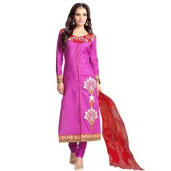 Purple Colored Glace Cotton Embroidery Unstitched Party Wear Salwar Suit