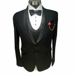 Black XXL Mens Three Piece Wedding Suit