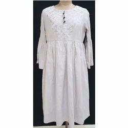 Cotton White Ladies Bell Sleeves Kurti, Size: XL
