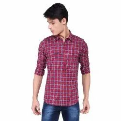Men Check Party Wear Shirt Streachable