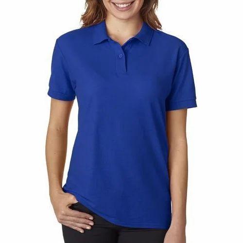 38ffe8a0 Ladies Blue Polo T-Shirts, Women Collar Polo T Shirt, महिलाओं ...