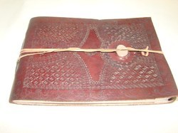 Vintage Leather Handmade Writing Journal with Stone