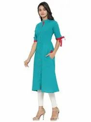 Yash Gallery Women's Cotton Blend Solid A-line Kurta