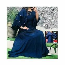 Party Wear Blue Ladies Ethnic Rayon Anarkali Kurti, Wash Care: Dry Clean