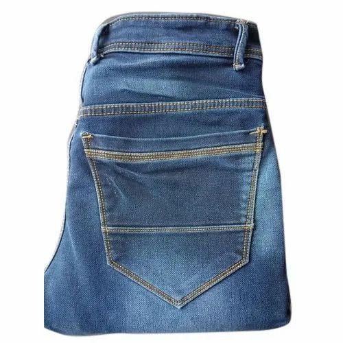 Blue Plain Men Skinny Cotton Jeans