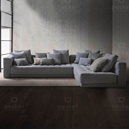 Modern L Shape Suede Sofa Back Style