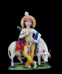 White Marble Krishna Statue With Cow