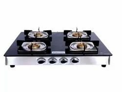 Brightflame 4 Burner Black Glass Gas Stove