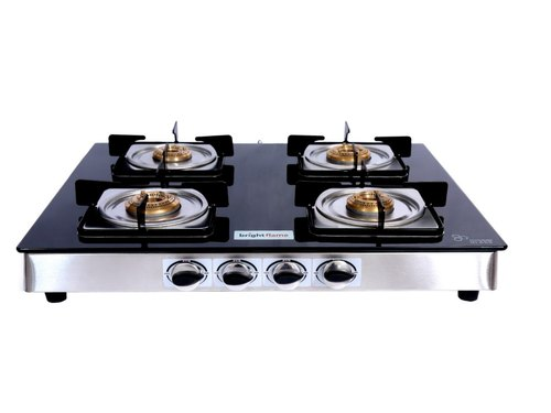 4 Burner Black Gl Top Square Drip