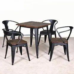 Mild Iron Black Restaurant Dining Set, Seating Capacity: 4 Person