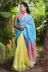 Silk Bhagalpuri Linen Saree