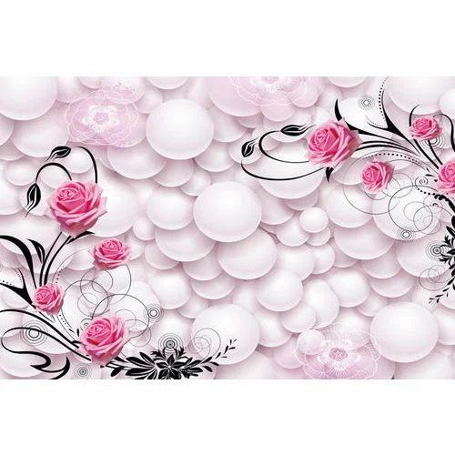 PVC Rose 3D Wallpaper For Home, Rs 40 /square Feet, Divine