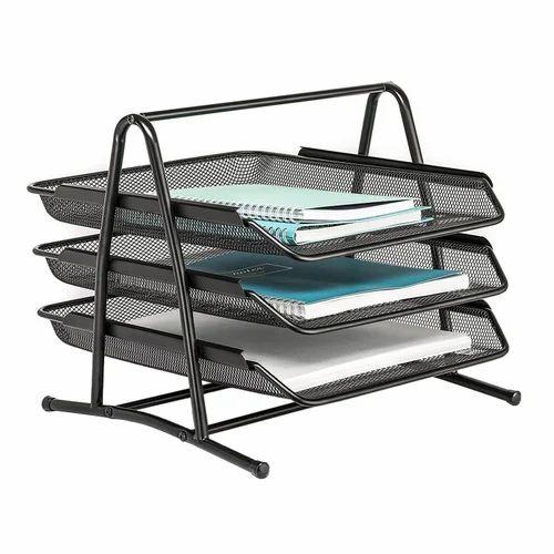 Black 3 Tier Doent File Paper Office Desktop Tray Organisers