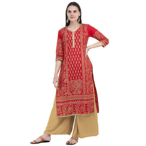 7baebacd3 Cotton Red Block Printed Straight Kurti
