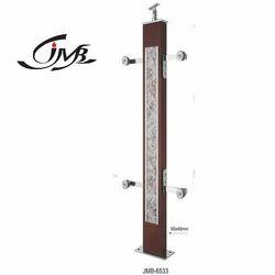 Designer Wooden Brown Finish Glass Pillar