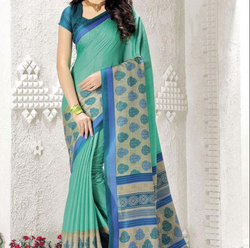 Party Wear Light Blue Polyester Cotton Saree