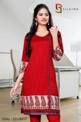 Red and Beige Silk Georgette Uniform Kurti