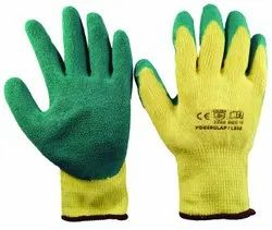 Poly Cotton Or Polyester Liner With Crinkled Latex Coating Hand Gloves