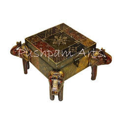 Square Wooden Painted Elephant Box, Size: 6 X 6