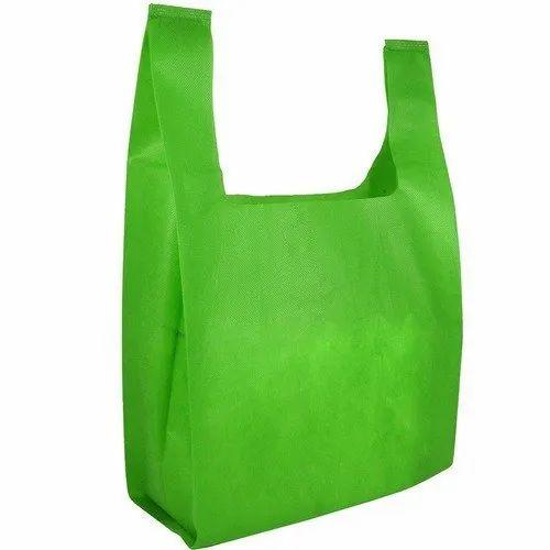 Plain U Cut Green Non Woven Bag