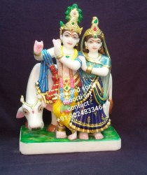 Marble Radha Krishna Idols With Cow